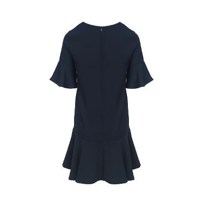 flare line collar dress black